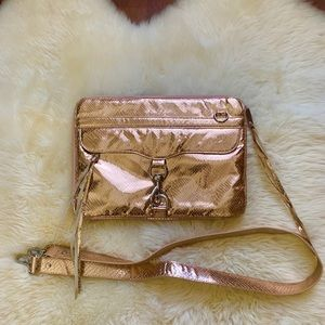 Rebecca Minkoff Rose Gold Metallic Laptop Bag 13""